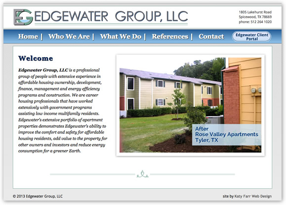 Edgewater Group's site designed by Katy Farr Web Design