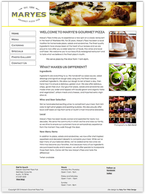 Screenshot of Marye's Gourmet Pizza by Katy Farr Web Design