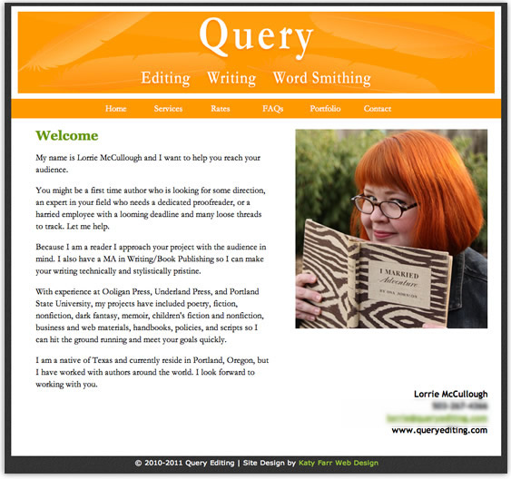 Brochure site designed by Katy Farr Web Design